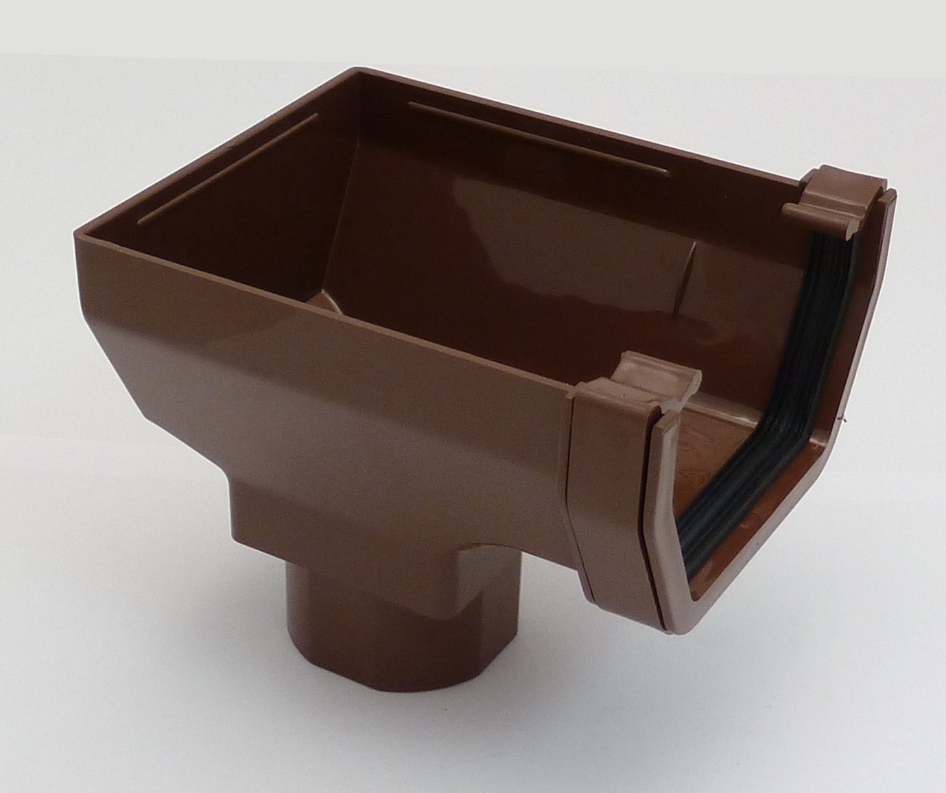 117mm Square Gutter Stopend Outlet Brown Square Gutter