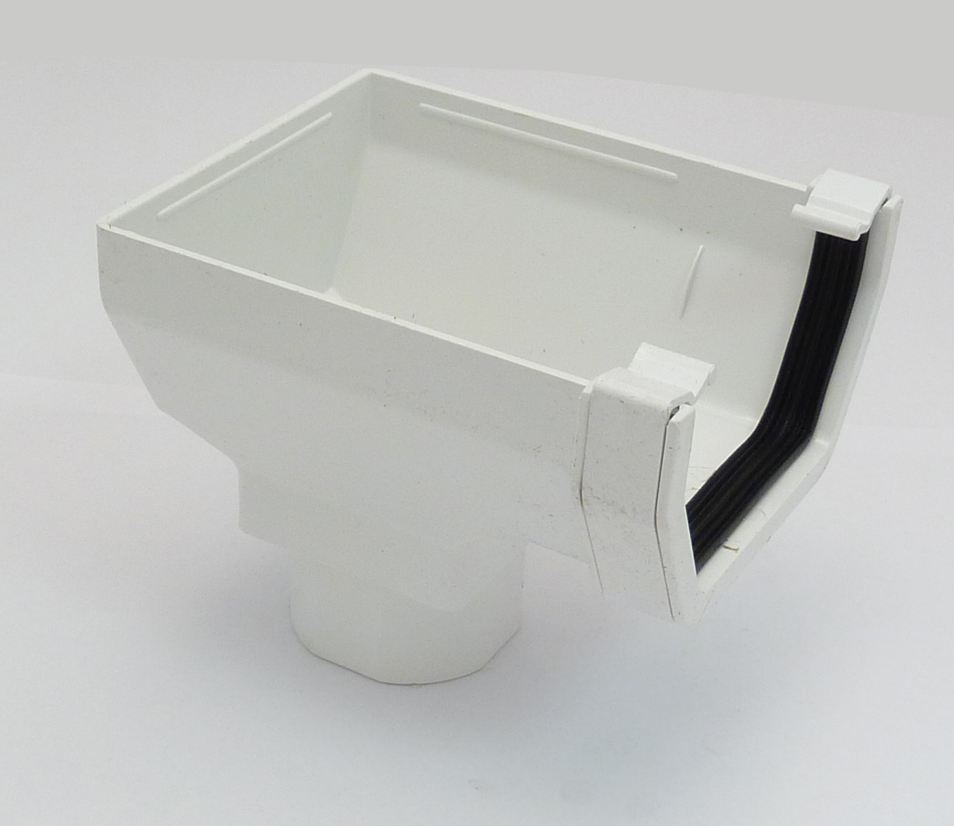 117mm Square Gutter Stopend Outlet White Square Gutter
