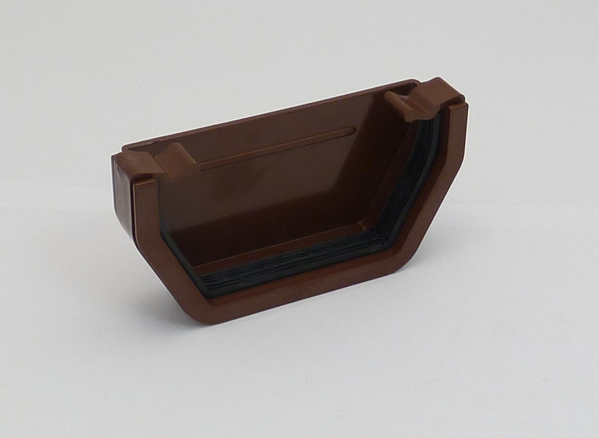 117mm Square Gutter External Stopend Brown Square Gutter