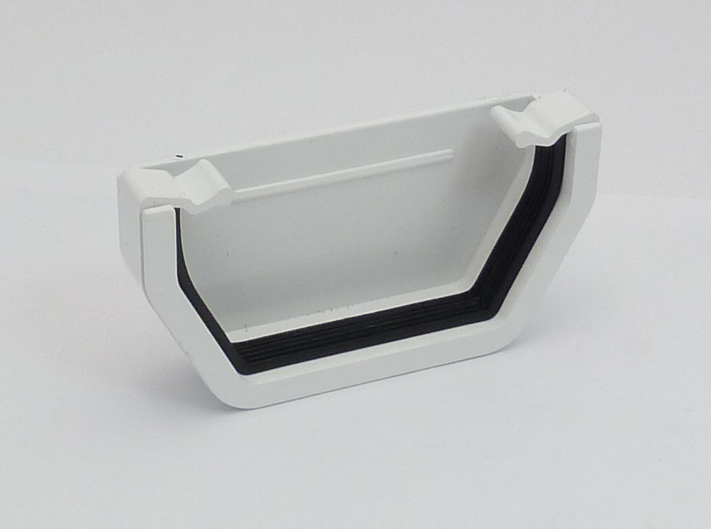 117mm Square Gutter External Stopend White Square Gutter