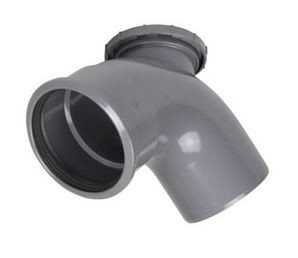 110mm Soil Pipe 90 Degree Access Bend (Grey)