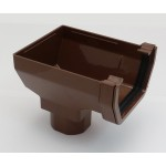 117mm Square Gutter Stopend Outlet Brown