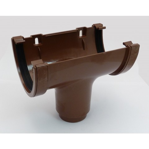 114mm Deepflow Gutter Running Outlet Brown