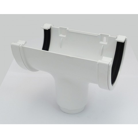 114mm Deepflow Gutter Running Outlet White