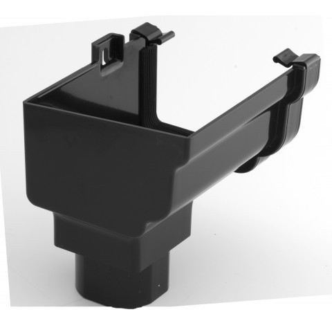 Classic Ogee Gutter Stopend Outlet Left Hand Black