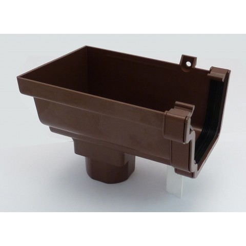 Classic Ogee Gutter Stopend Outlet Left Hand Brown