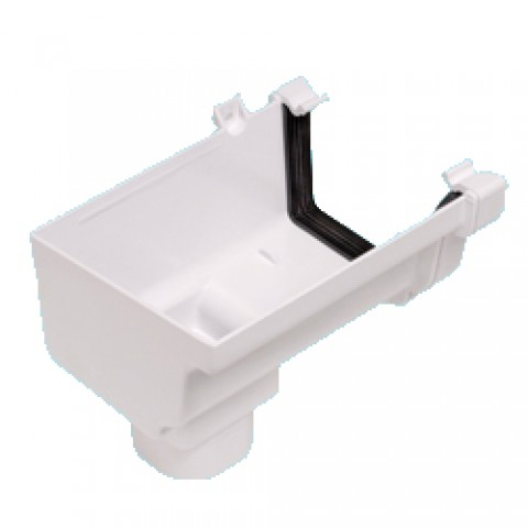 Classic Ogee Gutter Stopend Outlet Left Hand White