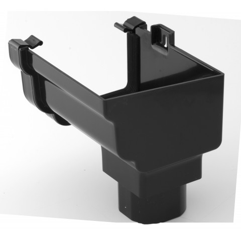 Classic Ogee Gutter Stopend Outlet Right Hand Black