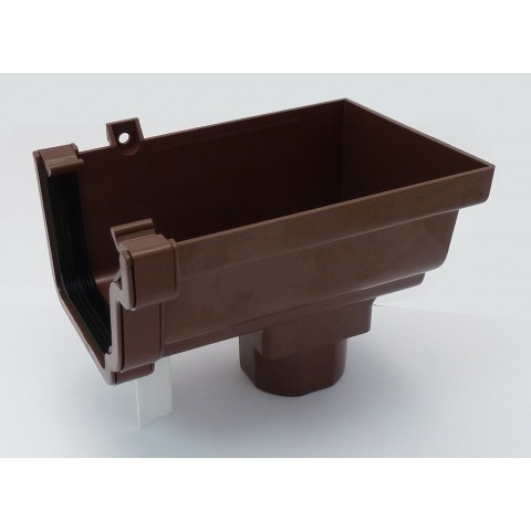 Classic Ogee Gutter Stopend Outlet Right Hand Brown