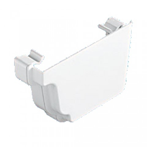 Classic Ogee Gutter External Stopend Right Hand White