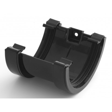 112mm Half Round Gutter Union Bracket Black