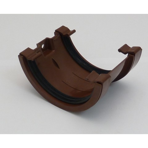 112mm Half Round Gutter Union Bracket Brown