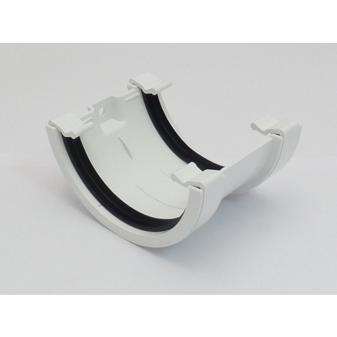 112mm Half Round Gutter Union Bracket White