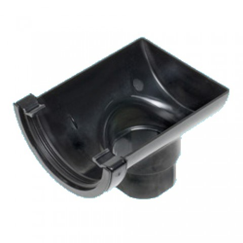 112mm Half Round Gutter Stop End Outlet Black