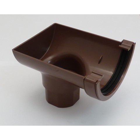 112mm Half Round Gutter Stop End Outlet Brown