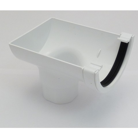 112mm Half Round Gutter Stop End Outlet White