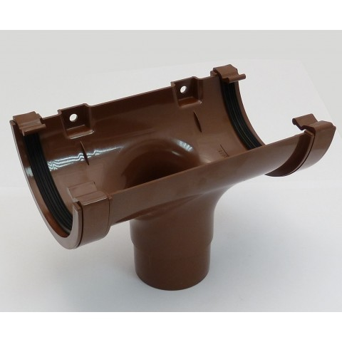 112mm Half Round Gutter Running Outlet Brown