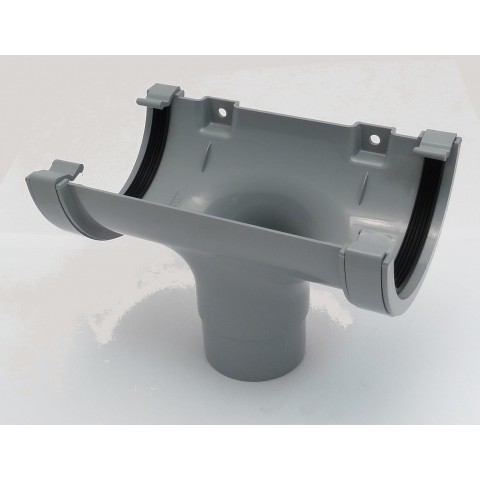 112mm Half Round Gutter Running Outlet Grey