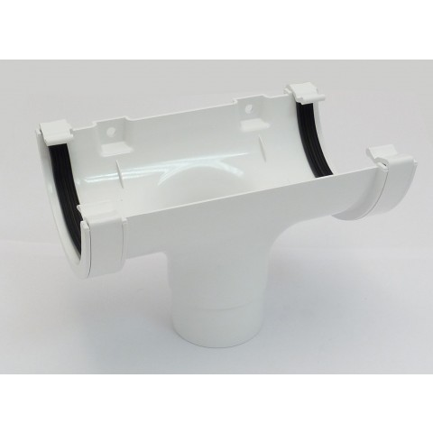 112mm Half Round Gutter Running Outlet White