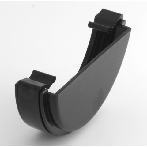 112mm Half Round Gutter External Stopend Black