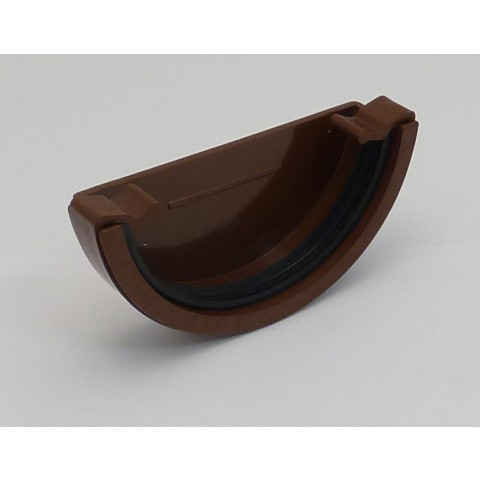 112mm Half Round Gutter External Stopend Brown