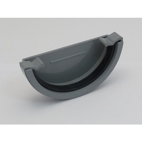 112mm Half Round Gutter External Stopend Grey
