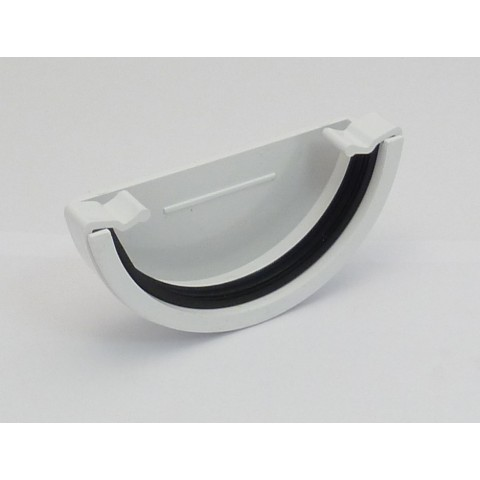 112mm Half Round Gutter External Stopend White