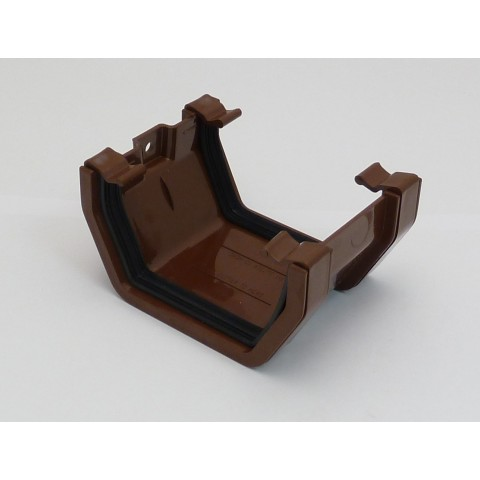 117mm Square Gutter Union Bracket Brown