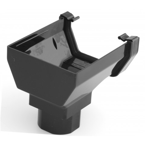 117mm Square Gutter Stopend Outlet Black