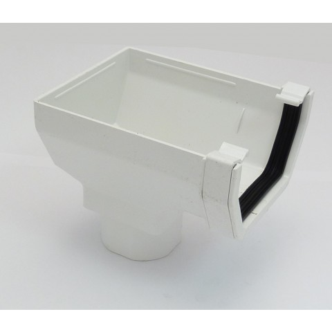117mm Square Gutter Stopend Outlet White