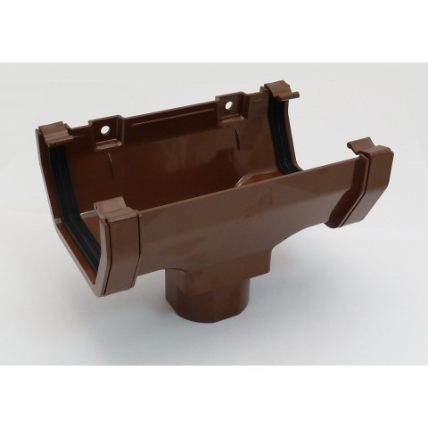 117mm Square Gutter Running Outlet Brown