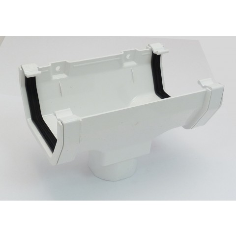117mm Square Gutter Running Outlet White