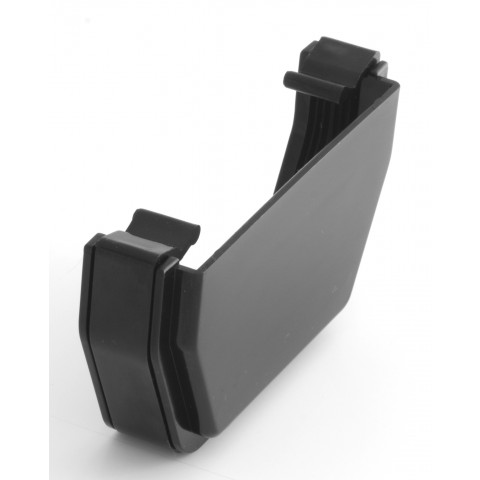 117mm Square Gutter External Stopend Black
