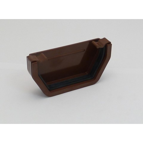 117mm Square Gutter External Stopend Brown