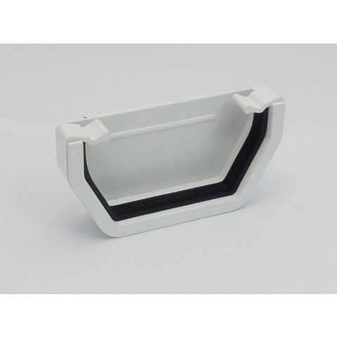 117mm Square Gutter External Stopend White