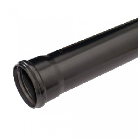 110mm Single Socket Soil Pipe 3m Black