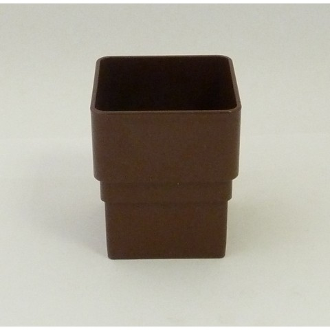 65mm Square Downpipe Connector Brown