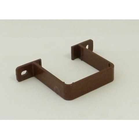 65mm Square Flush Fit Downpipe Pipe Clip Brown