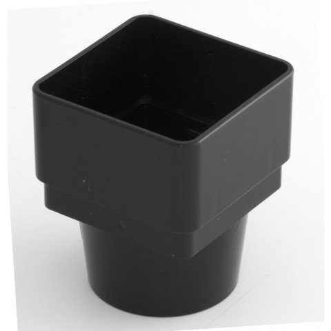 65mm Square Downpipe Square to Round Adaptor Black