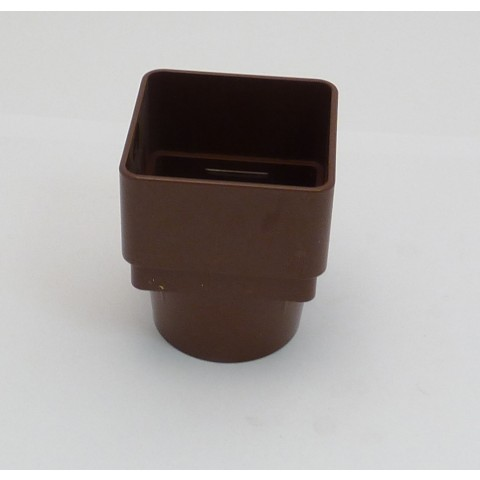 65mm Square Downpipe Square to Round Adaptor Brown