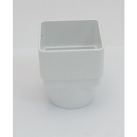 65mm Square Downpipe Square to Round Adaptor White