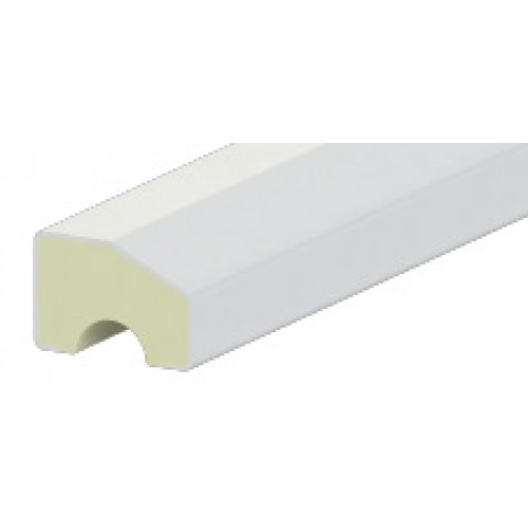 18 x 12mm Chamfered Block/Bead Trim Liniar White