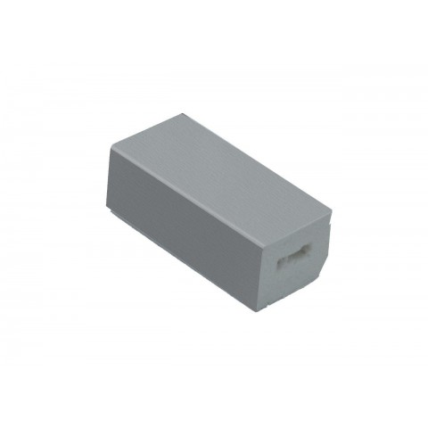 22 x 20mm Block Trim Grained Light (Silver) Grey RAL 7001