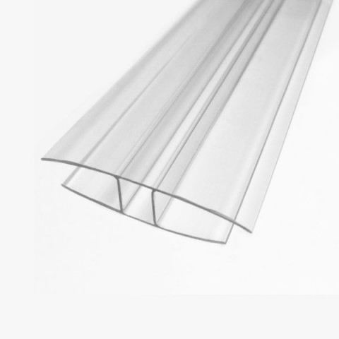 Clear Polycarbonate 'H' Section 10mm x 3m