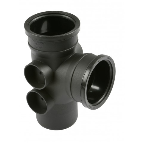 Cast Iron Style Soil 92.5° Double Socket 4 Boss Branch