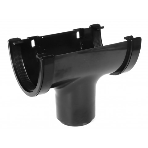 114mm Deepflow Gutter Running Outlet Black