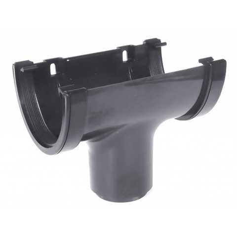 114mm Deepflow Gutter Running Outlet Dark Grey RAL 7016