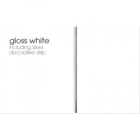 MARBREX GLOSS WHITE INCLUDING SILVER STRIP CEILING PANEL 200MMX4MX10MM PK8