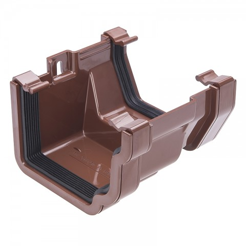 PVC Ogee to PVC Half Round Adaptor Brown
