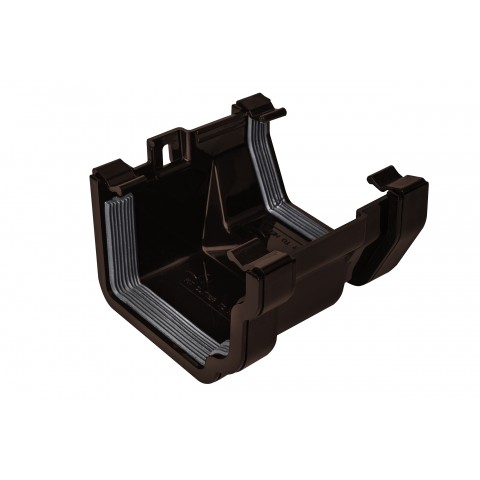 PVC Ogee to PVC Square Gutter Adaptor Brown